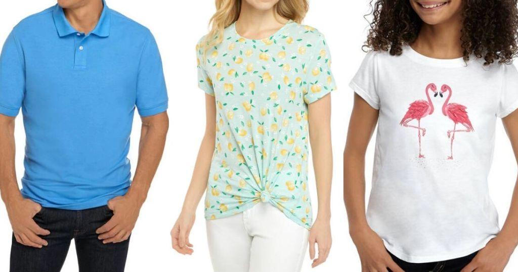 Man wearing polo shirt, woman wearing fronttie shirt and girl wearing shirt sleeved shirt