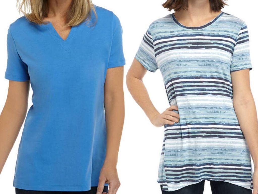 Two women wearing short sleeved shirts