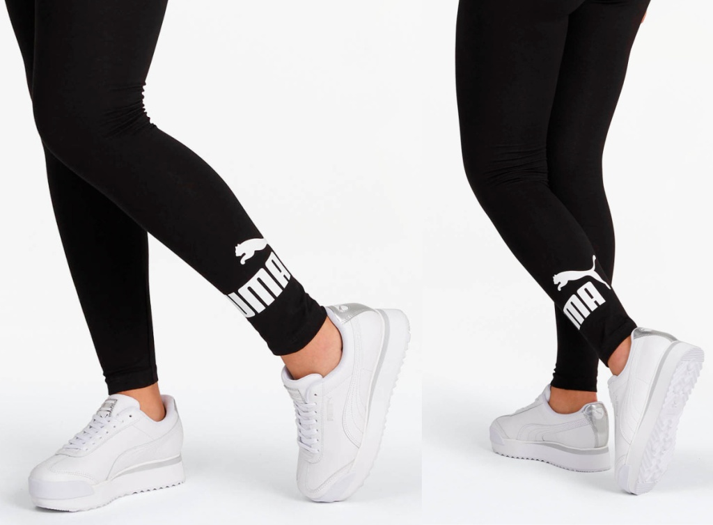 close up of black puma leggings with logo on ankle