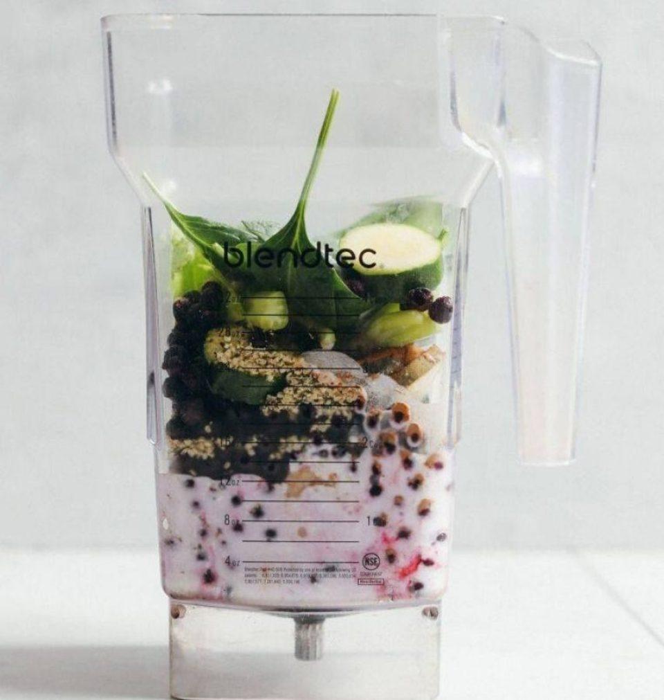 Blendtec Jar with smoothie ingredients inside