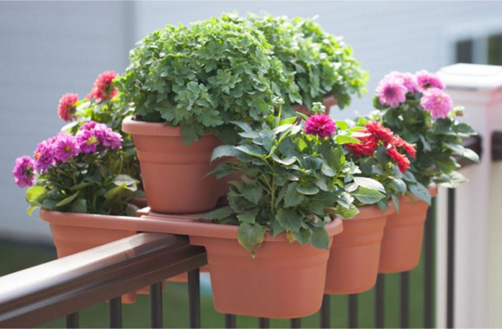 Bloem Terra Cotta Milano Plastic Deck Rail Planter with multiple plants and flowers inside of the planter resting on railing