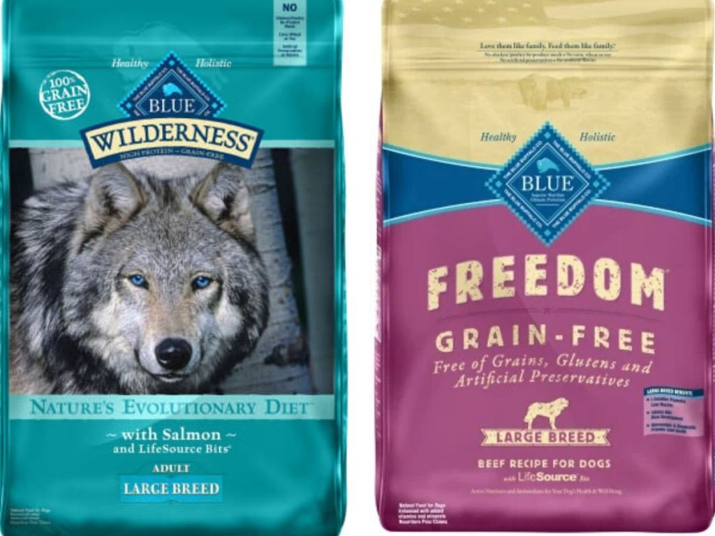 two bags of blue buffalo dog food