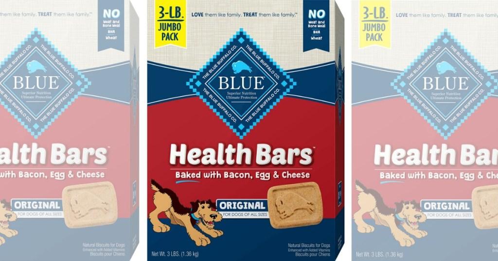 three boxes of Blue Buffalo dog treats