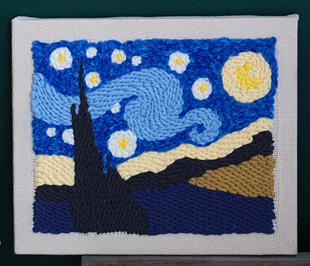 starry night punch needle completed image