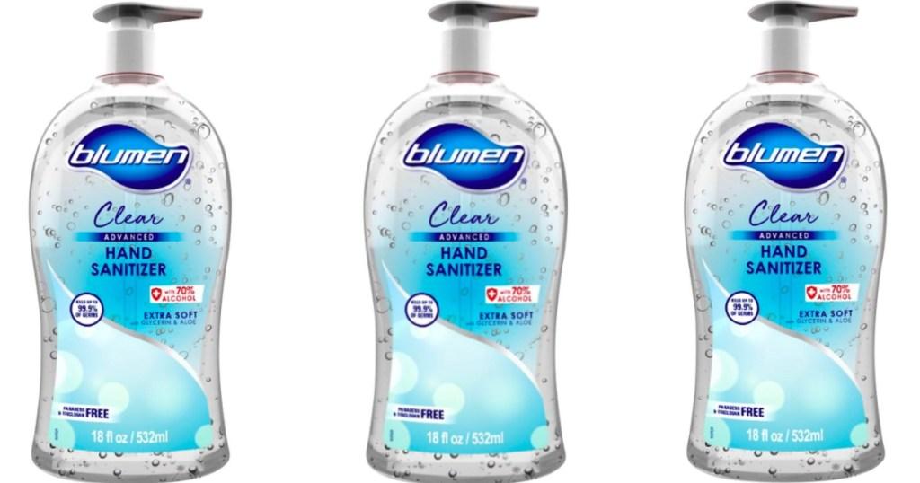 three bottles of Blumen hand sanitizer