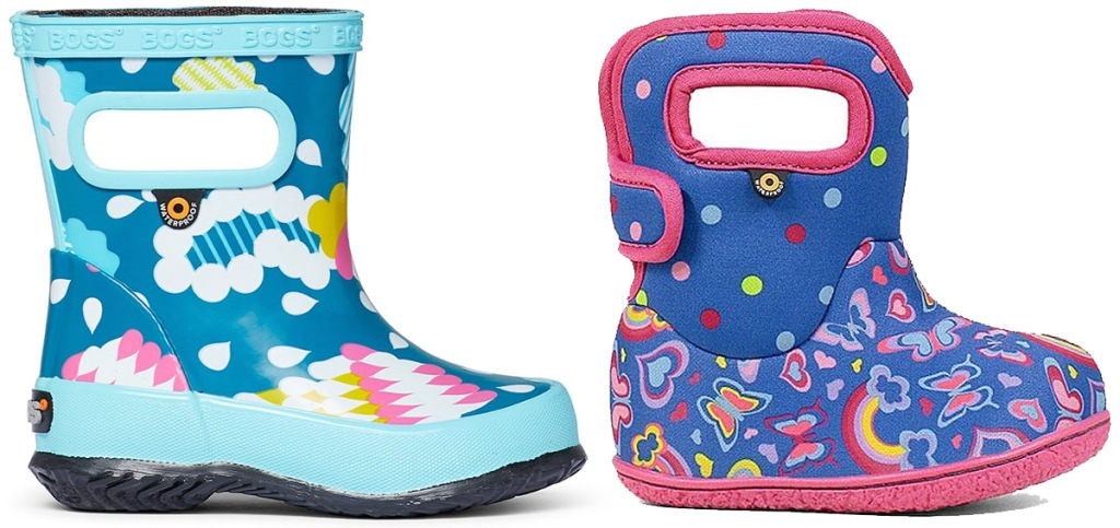blue rain cloud printed kids rubber boot and blue and pink butterfly printed baby boot