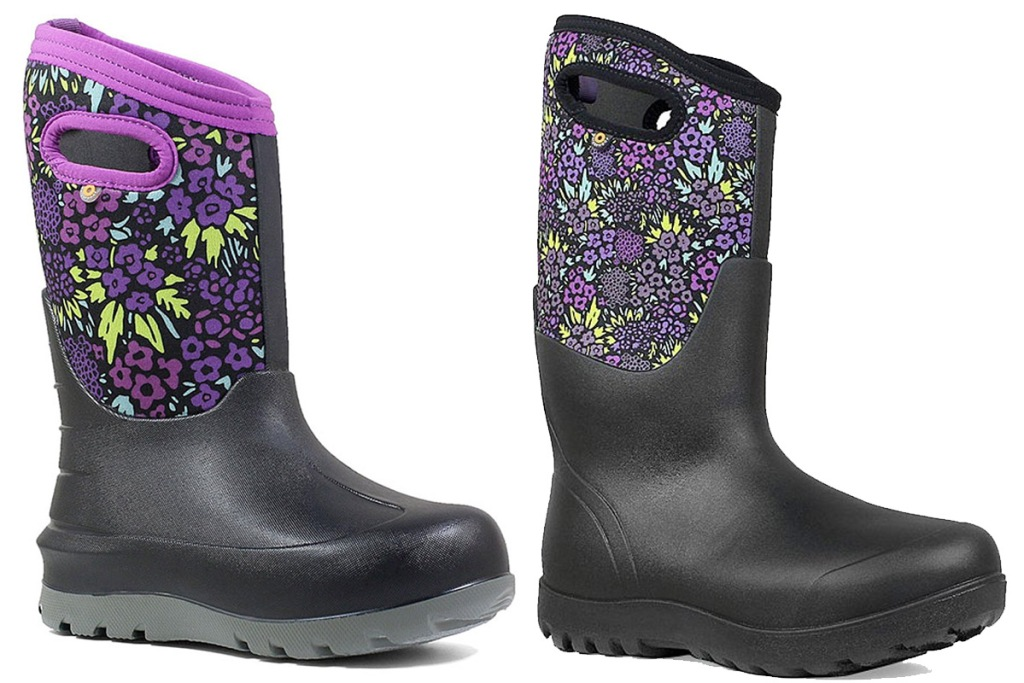 two black with purple floral print rubber boots
