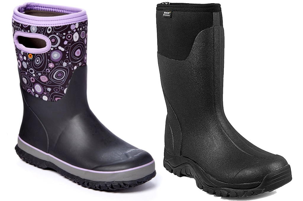 purple and black girls rubber boot and black mens rubber boot