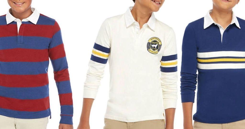 3 boys wearing Boys Rugby Shirts