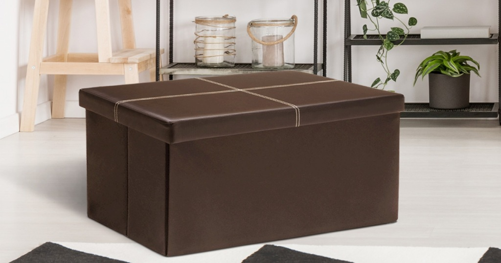 brown faux leather storage ottoman in living room