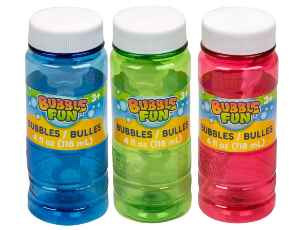 three bottles of bubbles with wand