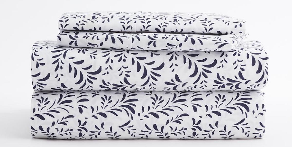 stack of sheets with floral design