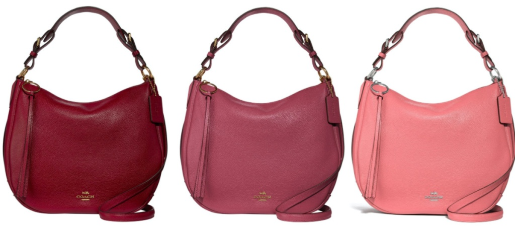 pink and red hand bags