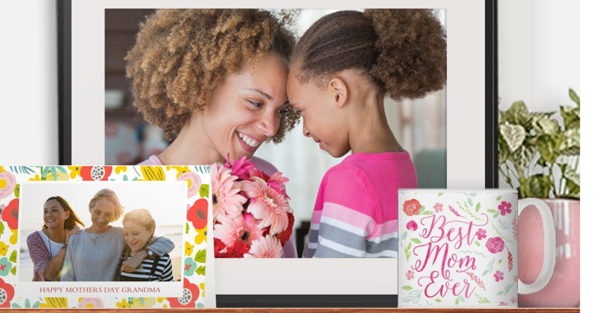 """large photo and frame, card with photo, and mug that says """"Mom"""""""