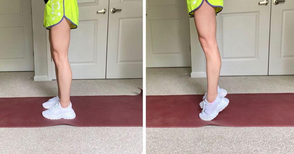 Woman wearing shorts and demonstrating calf raises at home