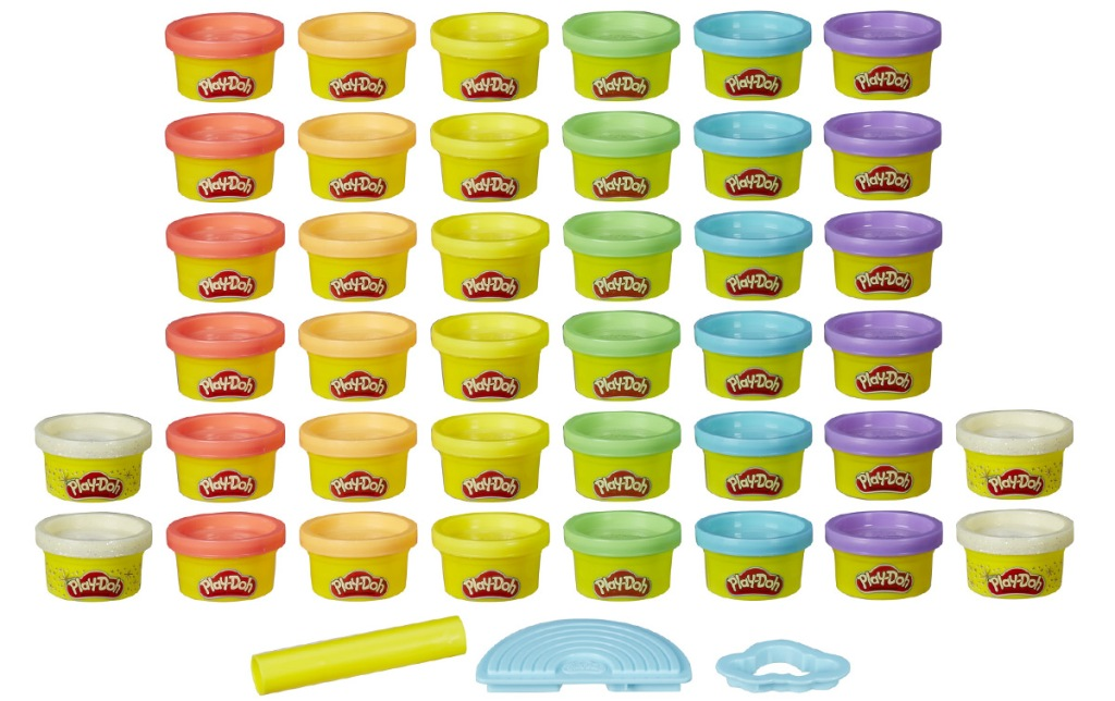 40 mini cans of play-doh in rainbow colors with 3 sculpting tools