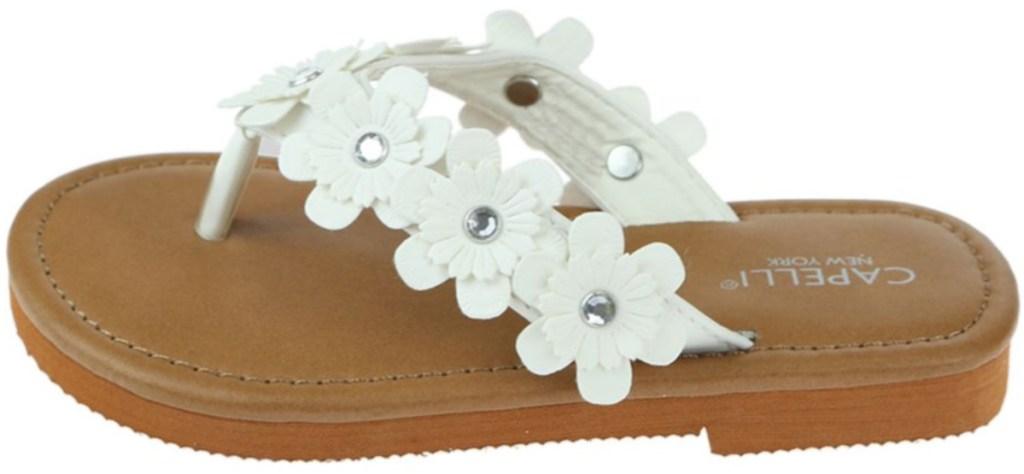 white flower sandals Capelli New York Girls Flower Thongs