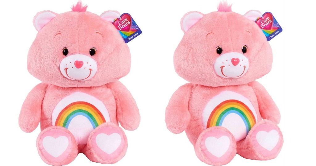 two views of a plush pink Care Bear