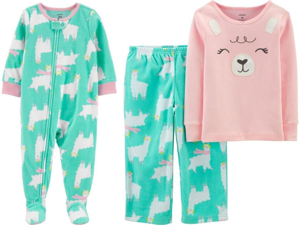 two girls pajamas one one piece footed set on the left and a two piece set on the right