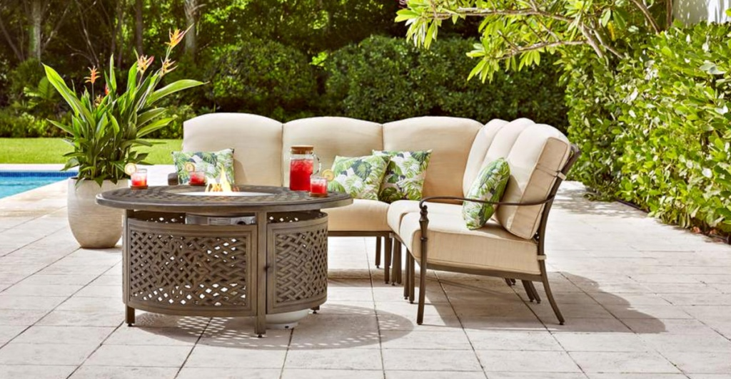 pool deck with Cavasso 5-Piece Metal Outdoor Sectional w/ Cushions