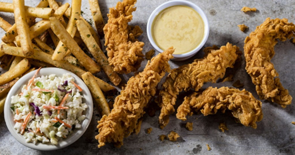 cheddars chicken tenders with coleslaw, fries, and honey mustard