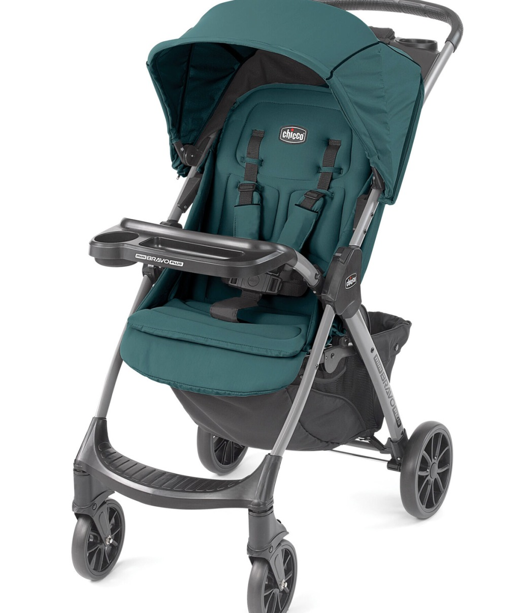 green and dark grey baby stroller with canopy