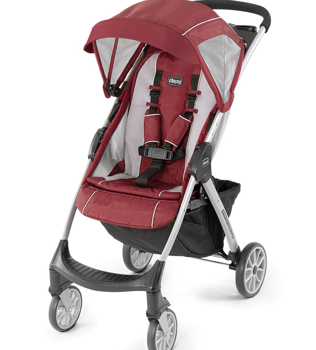 red and light grey baby stroller