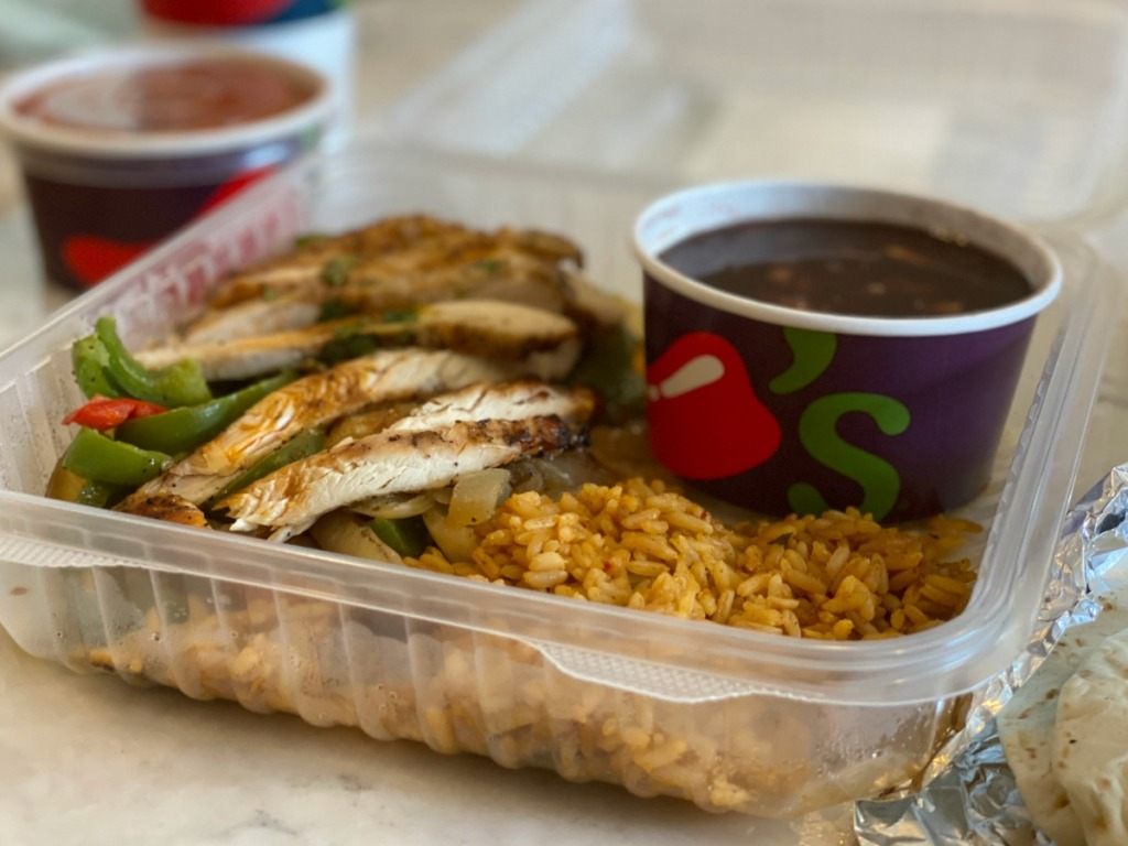 To-go meal from Chili's with fajitas and rice