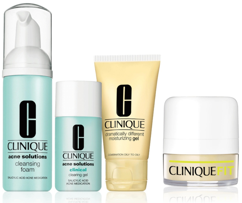 Clinique Acne Solutions kit with three pieces and and CliniqueFIT