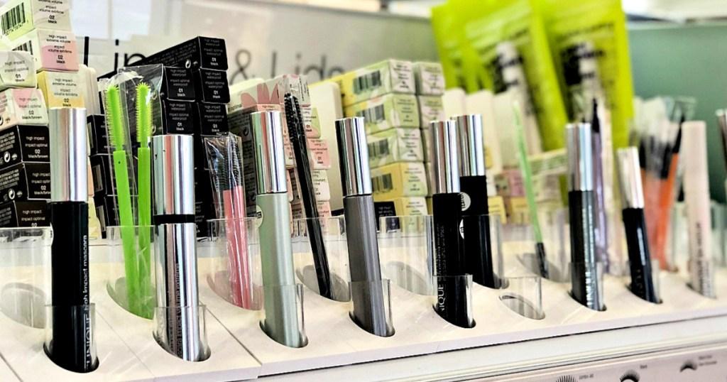 store display shelf of various clinique brand mascaras