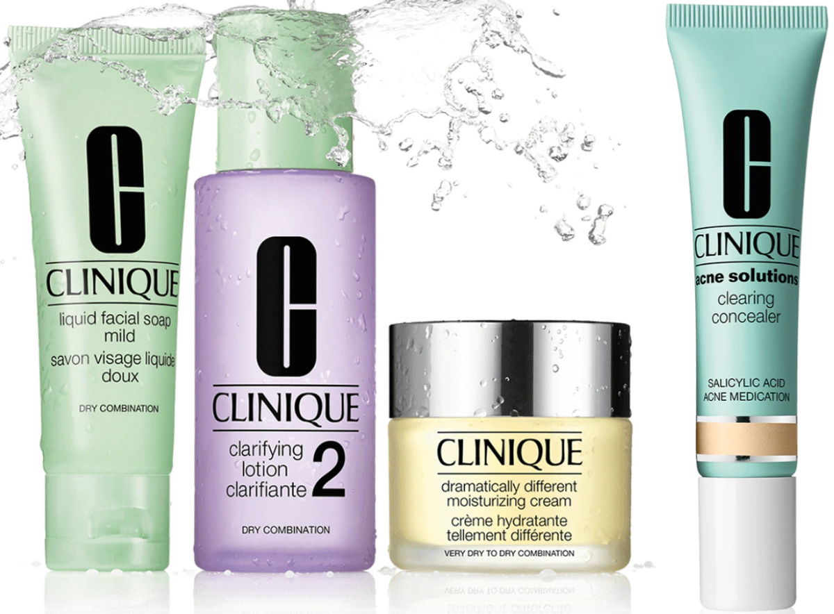 Clinique Type 2 3 piece set including cleanser, face wash and face cream plus acne concealer