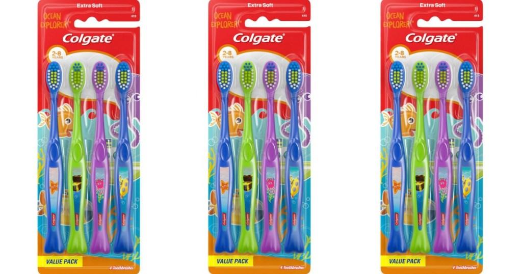 three packs of kids toothbrushes