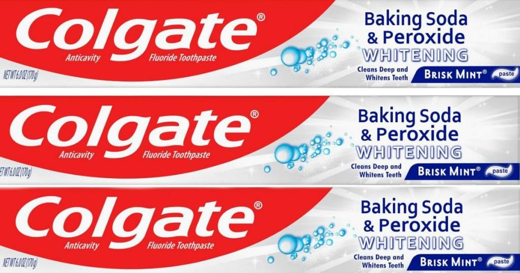 three Colgate toothpastes
