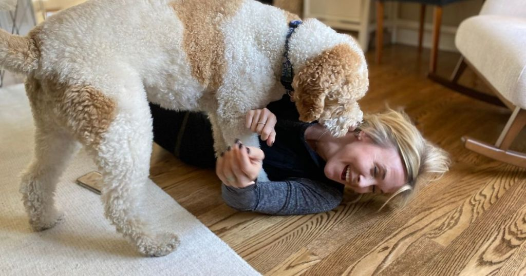 Woman laying on the floor laughing as her dog climbs on her and gives kisses