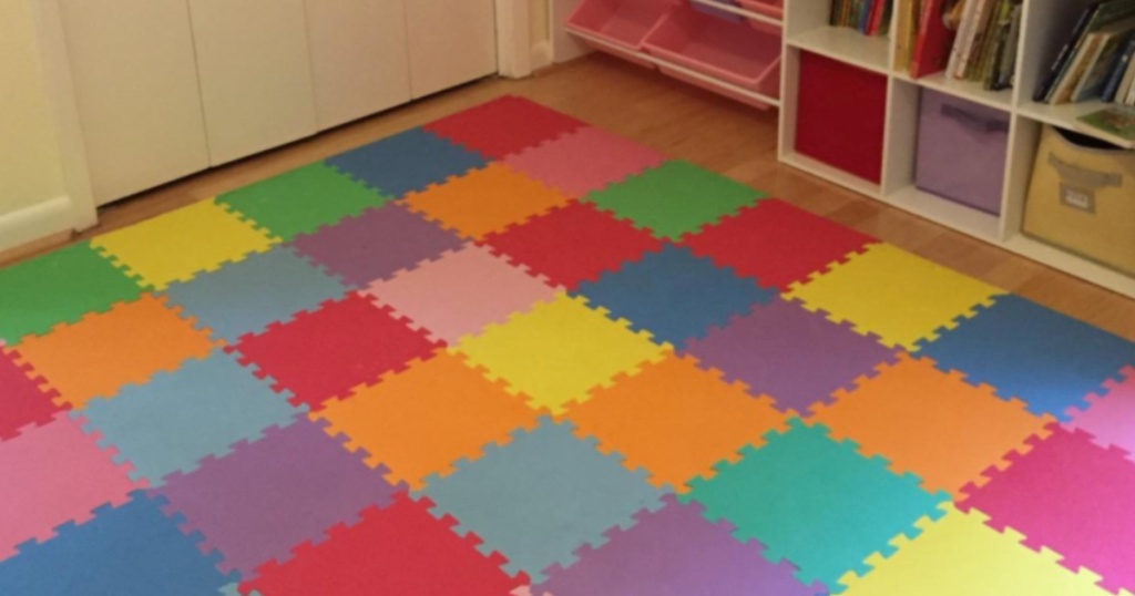 Colorful Foam Tile Playmat on playroom floor