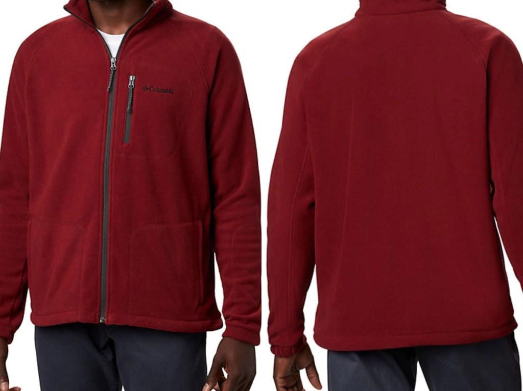 man in dark red zip fleece jacket