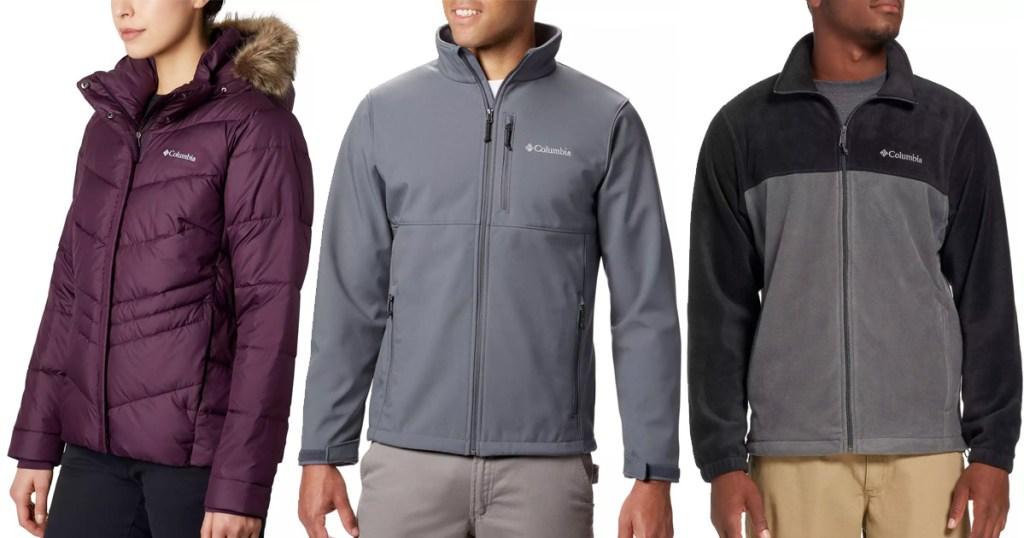 three models wearing columbia brand winter jackets