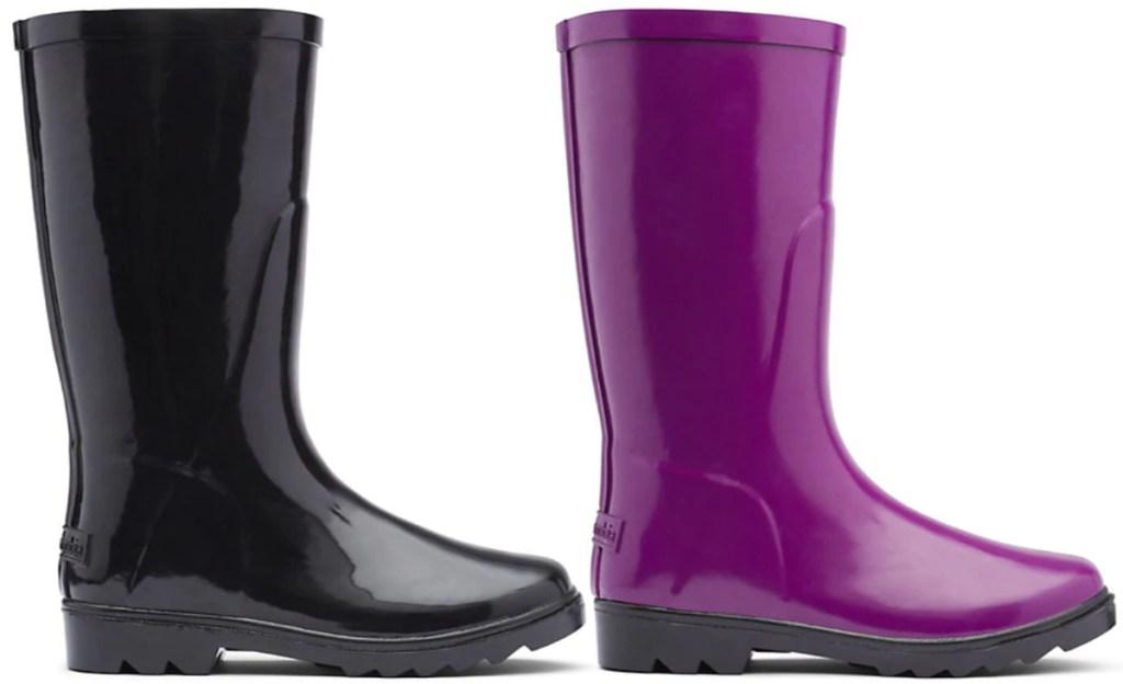 black and purple colored columbia rain boots