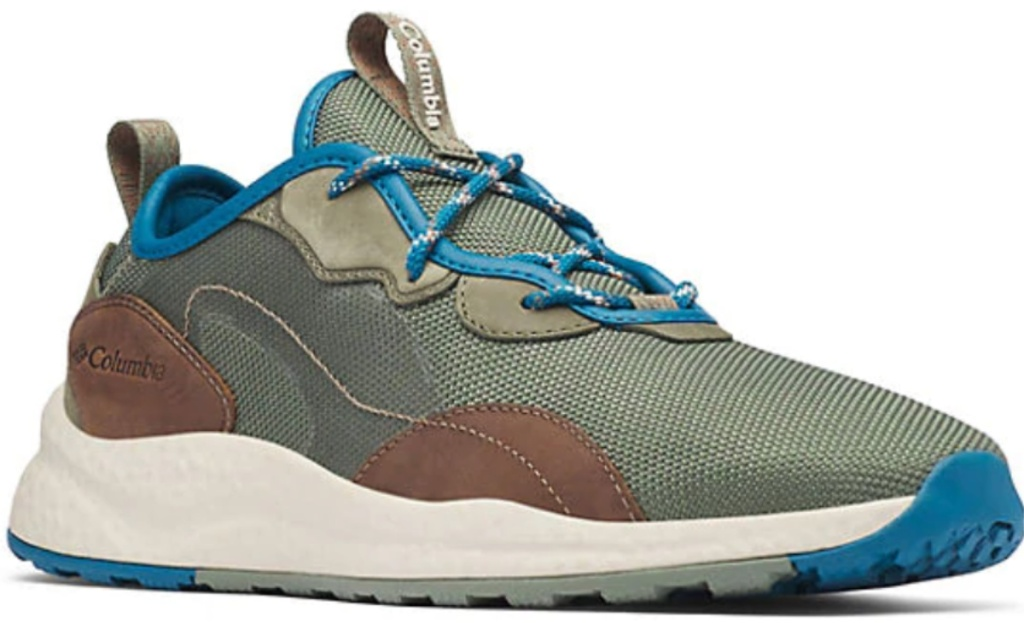 Cypress and Dark Truffle colored columbia mens sneakers with blue laces