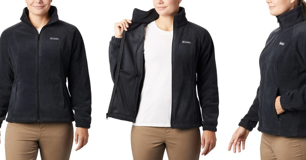 women wearing a black jacket