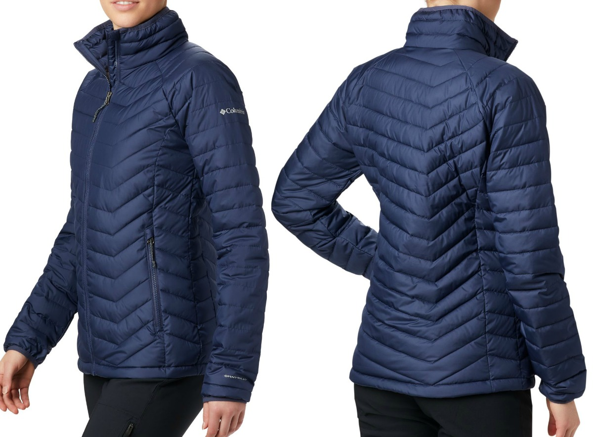 Front and back view of a woman wearing a navy blue puffer jacket