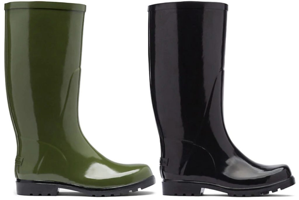 olive colored and black colored columbia womens rain boots