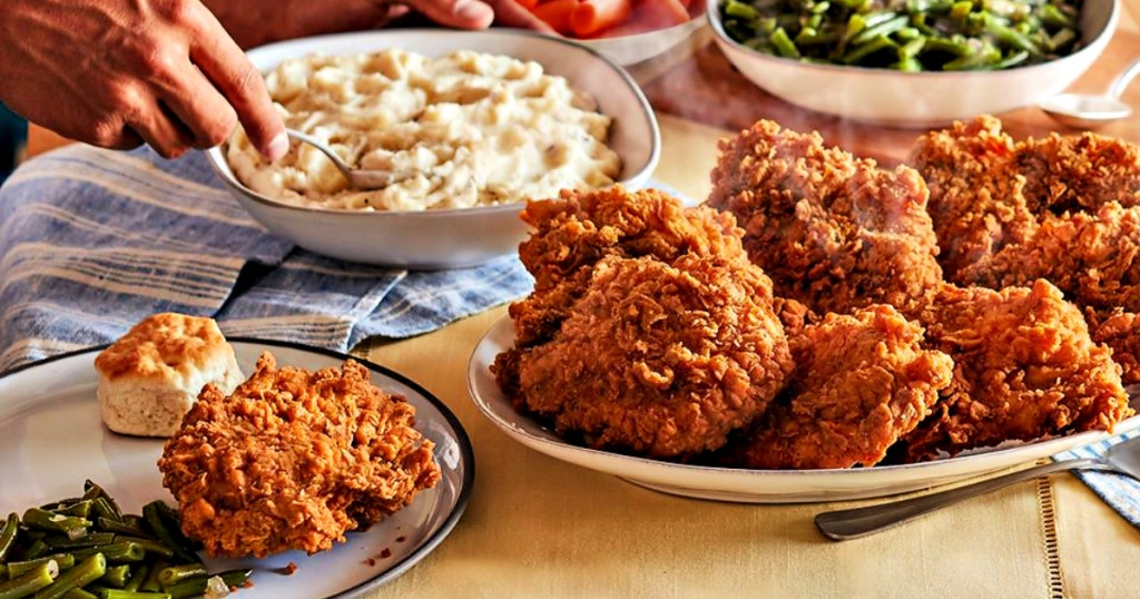 Cracker Barrel fried chicken and mashed potatoes