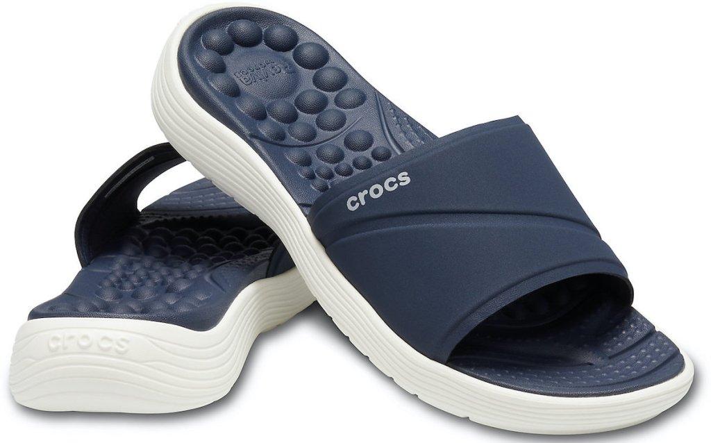 navy pair of Crocs Women's Reviva Slide