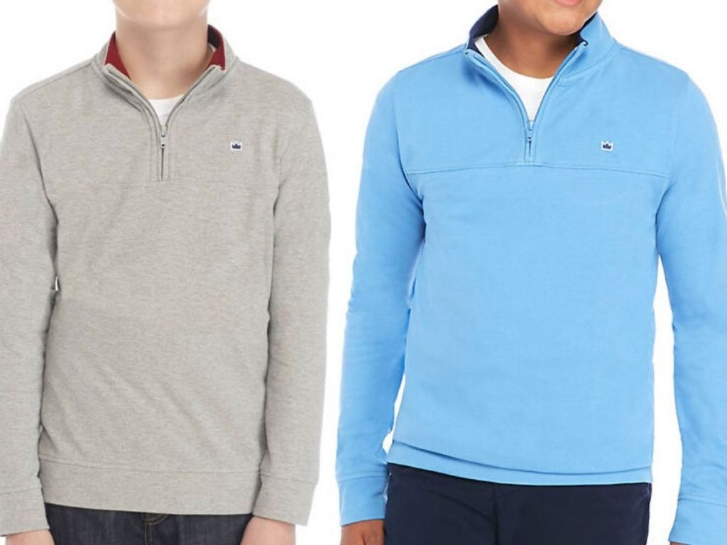 two boys wearing 1/4 zip pullover shirts
