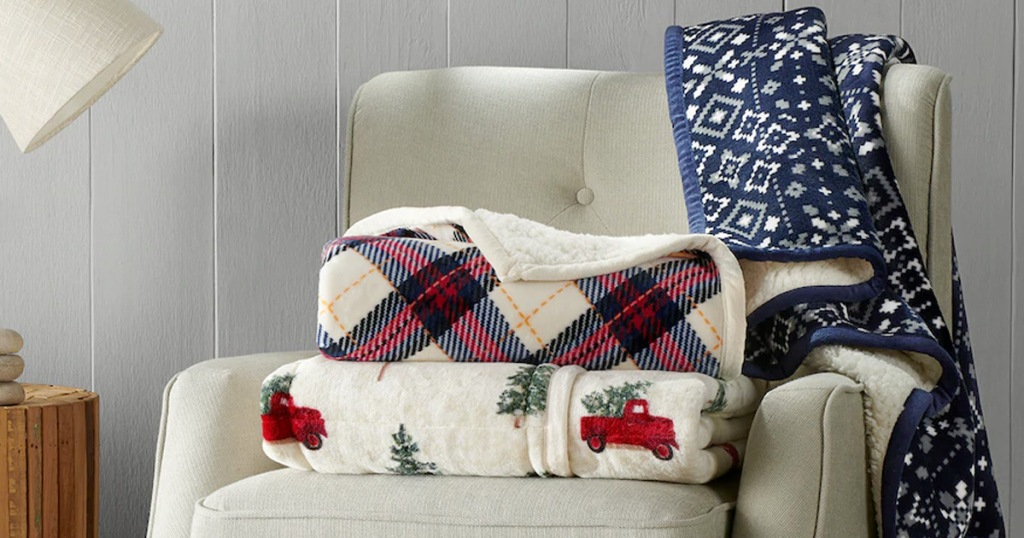 Cuddl Duds Home Plush Sherpa Throws on chair