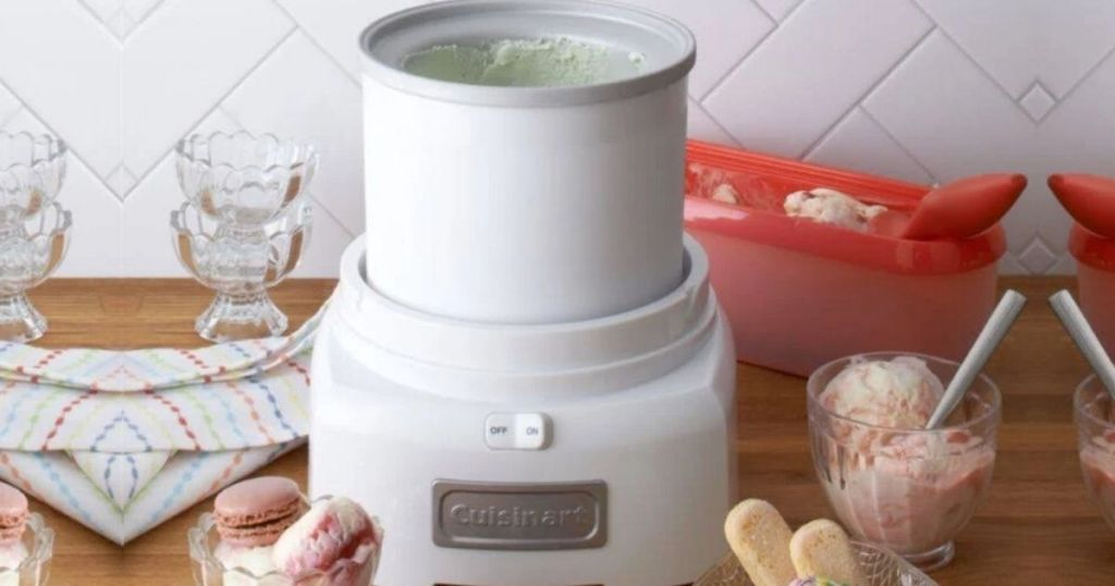 cuisinart ice cream maker on table with ice cream in bowls