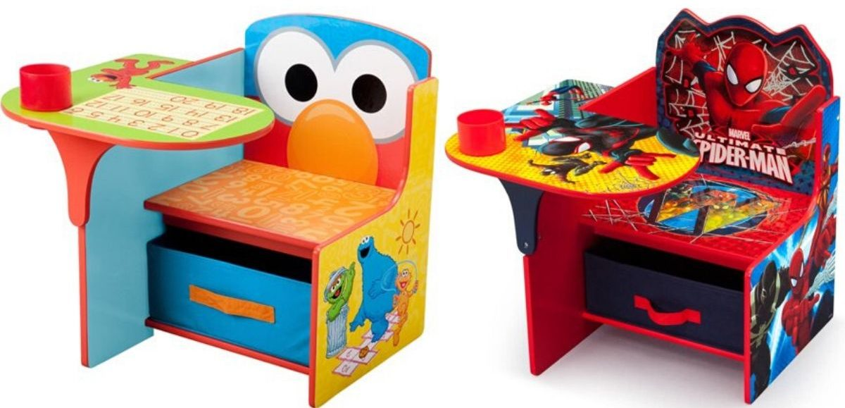 two childrens desk chairs with popular cartoon characters