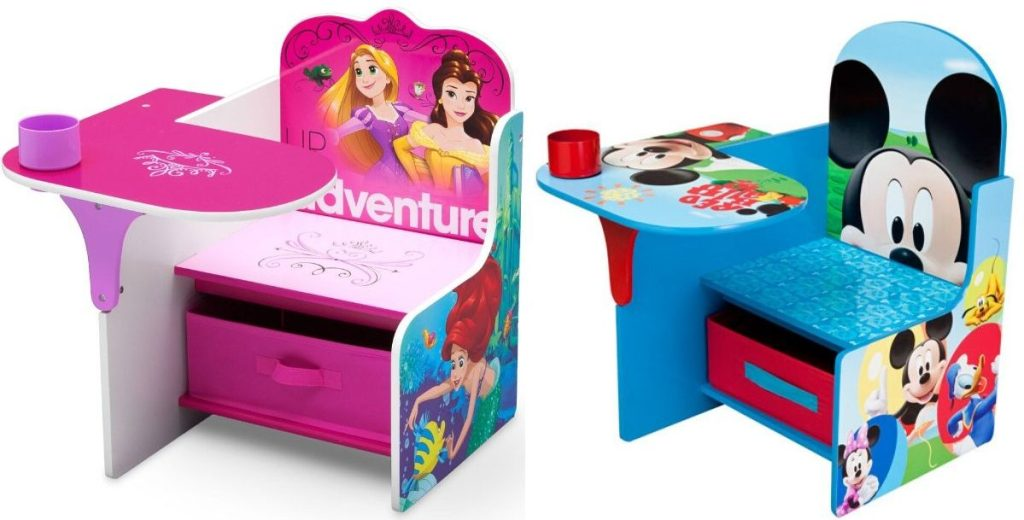 two wooden chair desks featuring popular childrens cartoon characters