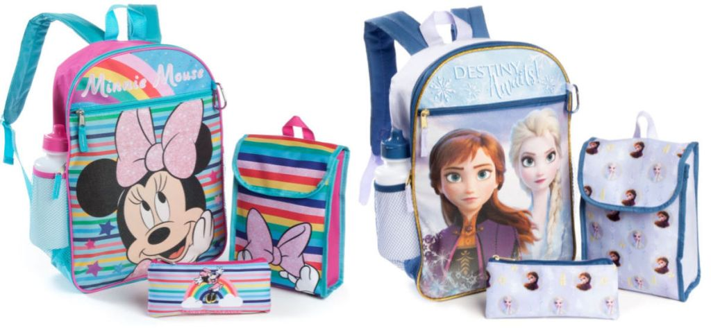 minnie mouse and disney frozen disney backpack sets